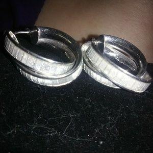 Silver  diamond cut earrings